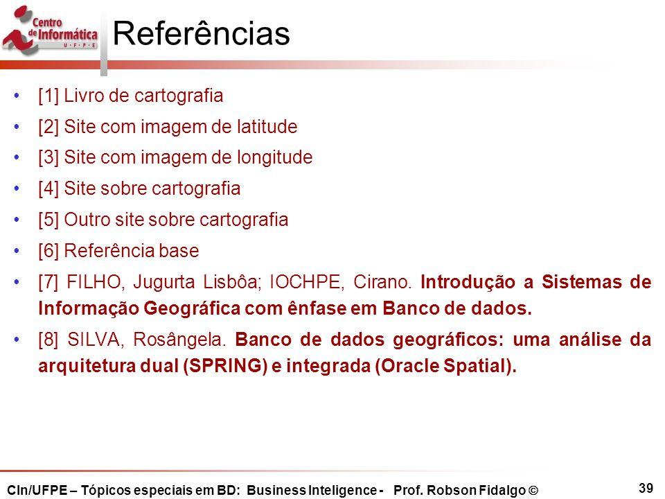 Referências [1] Livro de cartografia [2] Site com imagem de latitude